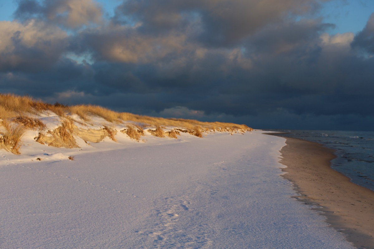 """Der Winter kommt nach Bornholm: """"Hartmut"""" bringt Schnee und Sturm."""